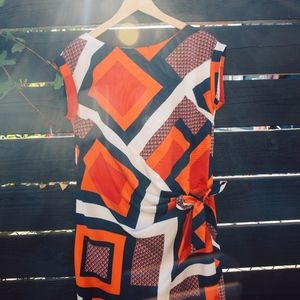 Geometric Silk Art Dress